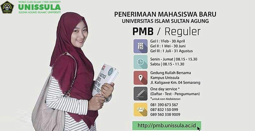 Jadwal Lengkap PMB Reguler Unissula Tahun Akademik 2018/2019!