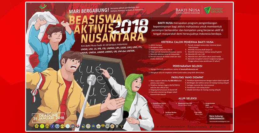 Beasiswa Aktivis Nusantara 2018 Hadir Di 18 Kampus Indonesia