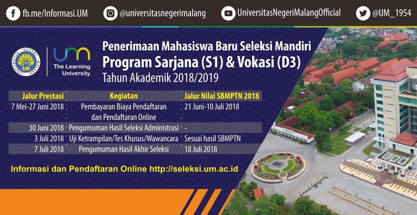 Pendaftaran Jalur Nilai SBMPTN Universitas Negeri Malang Dibuka!