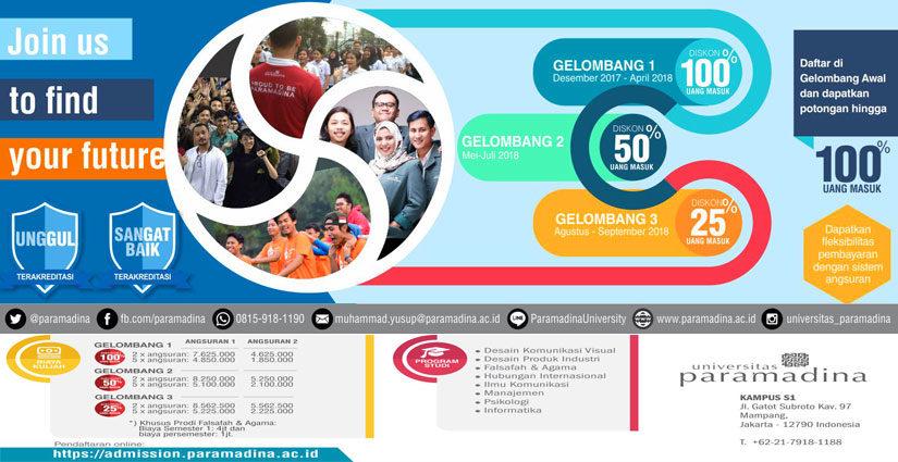 Diskon 25% Uang Masuk Bagi Maba Universitas Paramadina