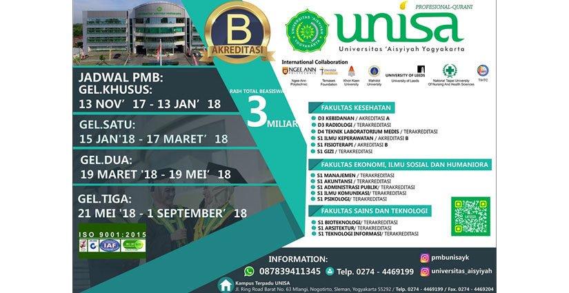 Beasiswa Hafidz UNISA Yogya Masih Dibuka Hingga September 2018!