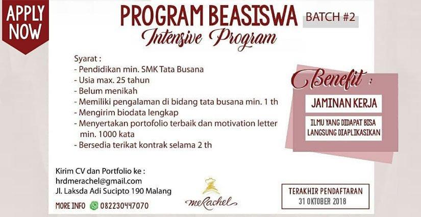Beasiswa Intensive Program Bagi Lulusan SMK Tata Busana