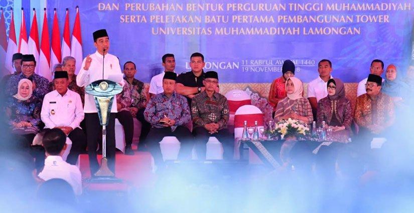 Presiden Joko Widodo Resmikan Perubahan Status Enam Perguruan Tinggi Di Lamongan