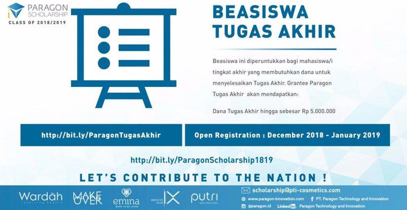 Paragon Scholarship Berikan Bantuan Beasiswa Tugas Akhir 2019